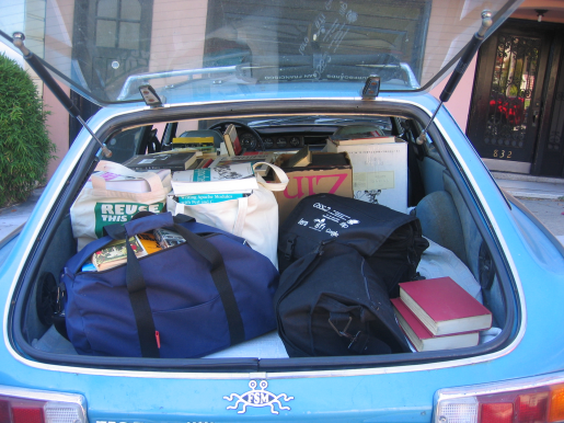 The books packed into Lev's car.