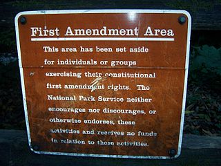 U.S. National Parks sign indicating a so-called 'free speech zone'.