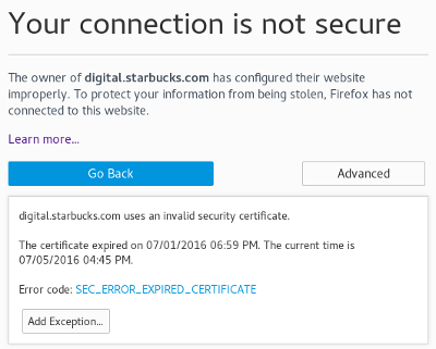 close-up view of 1 July TLS cert expiration, shown on 5 July